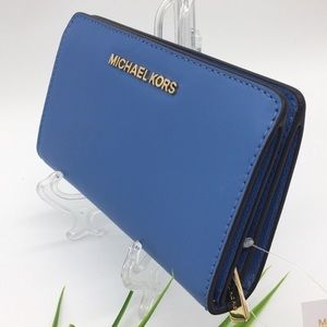 Michael Kors Jet Set Travel Slim Bifold French Blu